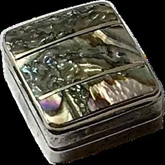 Sterling Silver Abalone Pill Box,