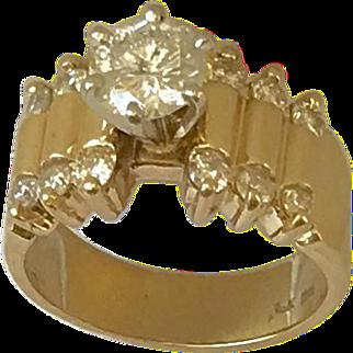 Ladies 14k Yellow Gold 1.10 Diamond Band Ring