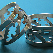 Pair of Vintage Cut Out Sterling Silver Napkin Rings