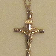 Dainty Vintage 14k Gold Filled Cross and Chain