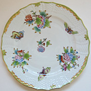 Exquisite Vintage Herend Porcelain Dinner Plate-Queen Victoria