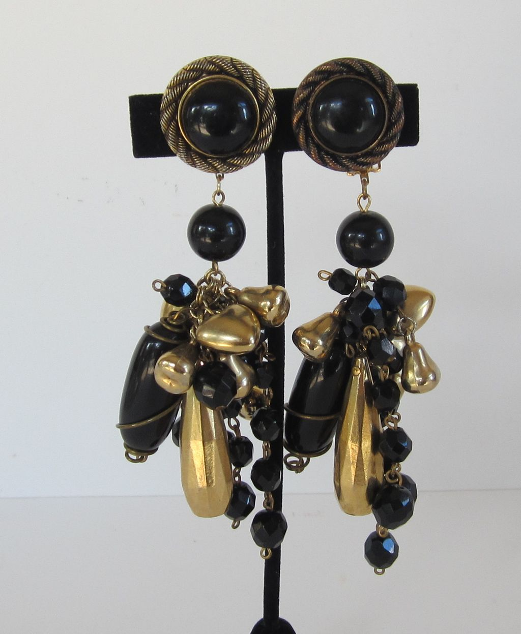 Dramatic Vintage Gold Tone and Black Bead and Charms Dangle Earrings