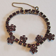 Gorgeous Vintage Purple Flower Rhinestone Bracelet