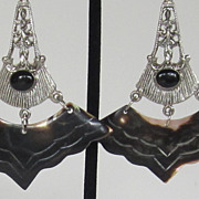 Dramatic Vintage Silver Tone and Abalone Shell Pierced Earrings