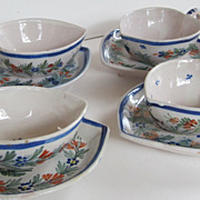 Quimper Vintage Set of Four Signed Heart Shape Cup and saucers