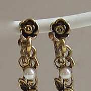 Adorable Vintage Floral and Faux Pear Goldtone Earrings