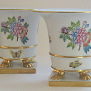Beautiful Vintage Herend Queen Victoria Pair of Urns