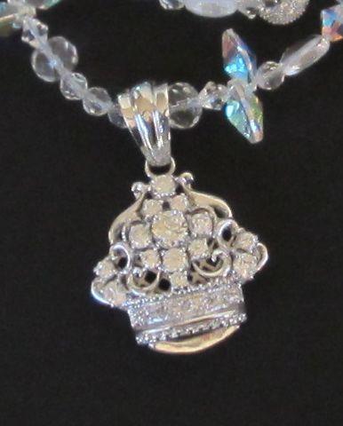 Fabulous Vintage Sterling Silver Pendant,Aurora Borealis Necklace