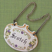 Vintage Porcelain Scotch Decanter Tag