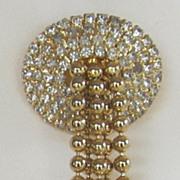 Hobe' Vintage Gold Tone and Rhinestone Brooch