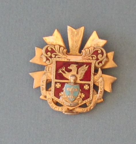 Vintage Beautiful Enameled Lion and Fleur die lys Shield Crest Pin