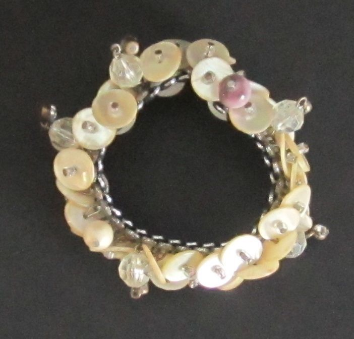 Vintage Expansion Button, Crystal and Bead Bracelet