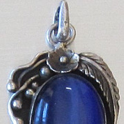 Large Vintage Sterling Silver Blue Glass Tigers Eye Pendant