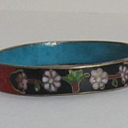 Striking Vintage Cinnabar,Cloisonne' and Enameled Bangle Bracelet