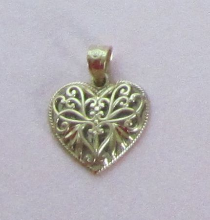 Reversible Vintage 10K Yellow Gold and Sterling Silver Heart Pendant/Charm