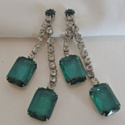 Fabulous Vintage Clip-on Emerald Glass and Rhinestone Dangle Earrings