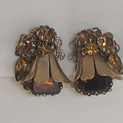 Spectacular Vintage Gold Tone Red and Amber Color Glass Stone Earrings