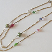 Lovely Vintage Art Glass Gold Tone Opera Length Necklace