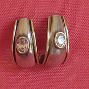 Vintage Sterling Silver,Gold Trim Crystal Demi Loop Pierced Earrings
