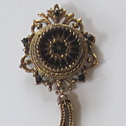 Stunning Vintage Gold Tone, Glass Brooch and Pendant