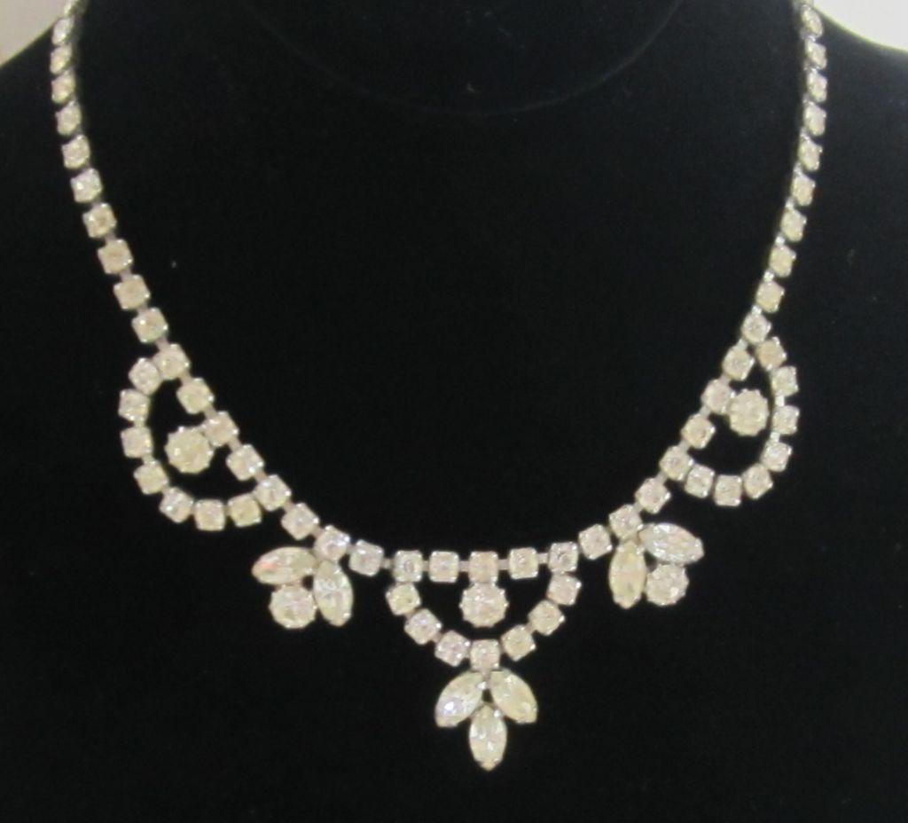 Vintage Rhinestone,Silver Tone Necklace