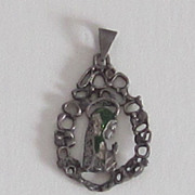 Sterling Silver Vintage Enameled Blessed Mother Pendant