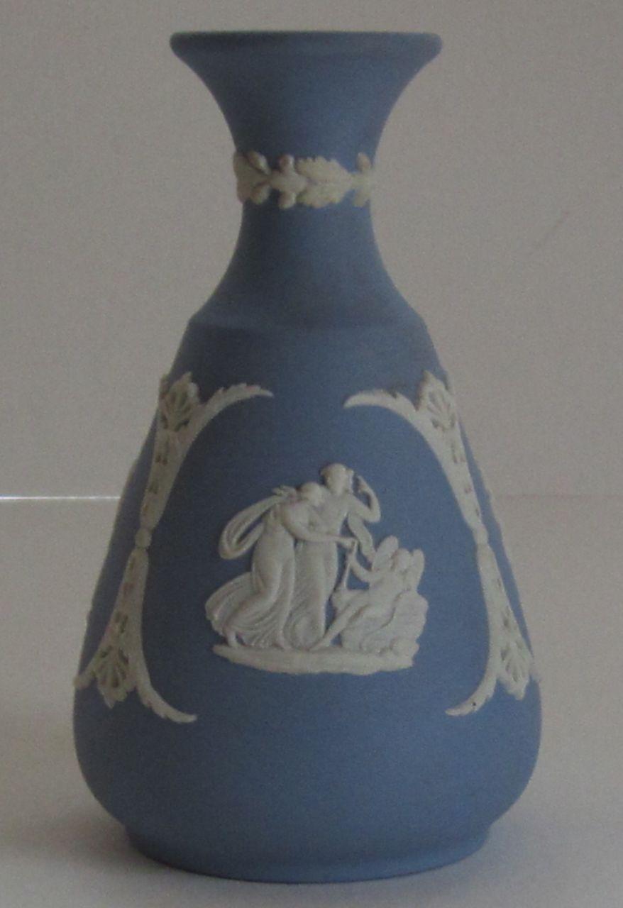Vintage Wedgwood Jasperware Blue Bud Vase From