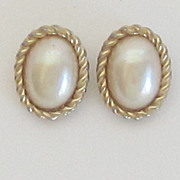Christian Dior Faux Pearl Gold Tone Earrings