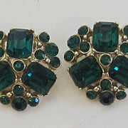 Earrings-Stunning Vintage Gold Tone Emerald Color Crystal Earrings-CHAREL