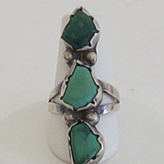 Vintage Native American Green Turquoise Elongated Ring
