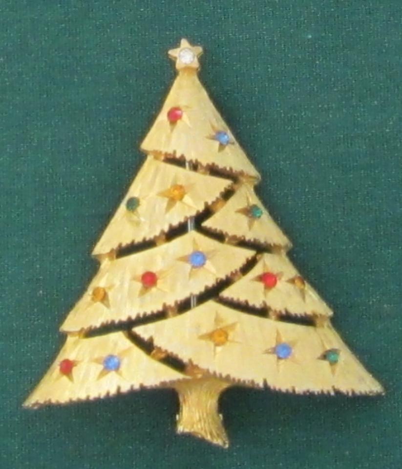 "Vintage ""JJ""  Simple Garland Cut Christmas Tree Pin"