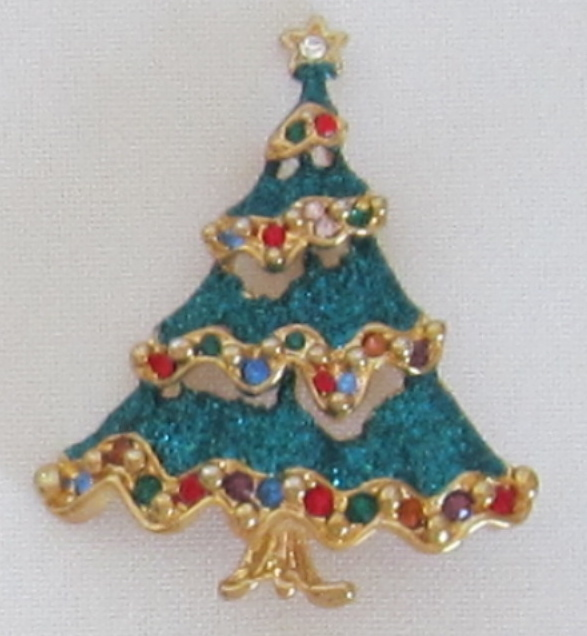 Sparkle vintage christmas tree pin from shopveronica on ruby lane