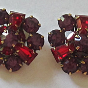 Kramer Vintage Gold Tone Deep Purple, Red Glass Earrings