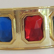 Bold Vintage Hinged Crystal and Gold Tone Cuff Bracelet