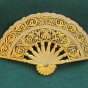 Damascene Vintage Fan Brooch