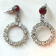 Rhinestone Vintage Silver Tone Circle Pierced Earrings