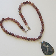 Vintage Glass Bead Agate Necklace