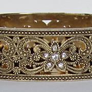 Gold Plated Rhinestone Vintage Hinged Bracelet
