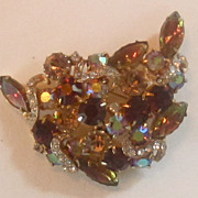 Lovely Vintage Rhinestone and Crystal Navette Brooch