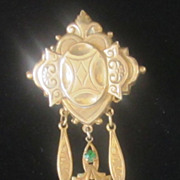 Victorian Style Gold Plated Brooch with Green Glass Stones