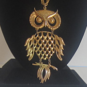 Vintage Gold Tone Owl Necklace