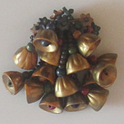 Early  Vintage  Miriam  Haskell Wood Bell Brooch