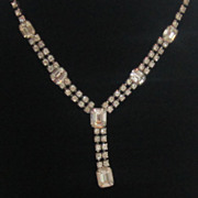 Sparkling Vintage Silver Tone Rhinestone Necklace