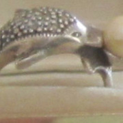 Vintage Sterling Silver , Faux Pearl Dolphin Ring