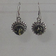 Vintage Russian, Baltic Green Amber Sterling Silver Earrings