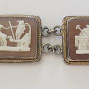 Carved Vintage Cameo Chariot Silver Bracelet
