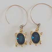 Charming Vintage Blue Glass Turtle Pierced Earrings