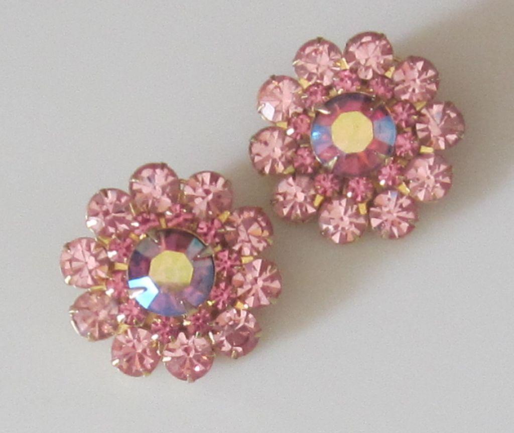 Judy Lee Vintage Pink Crystal Aurora Borealis Earrings