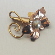 Enchanting Vintage 12 K GF Trumpet Flower Brooch/Signed