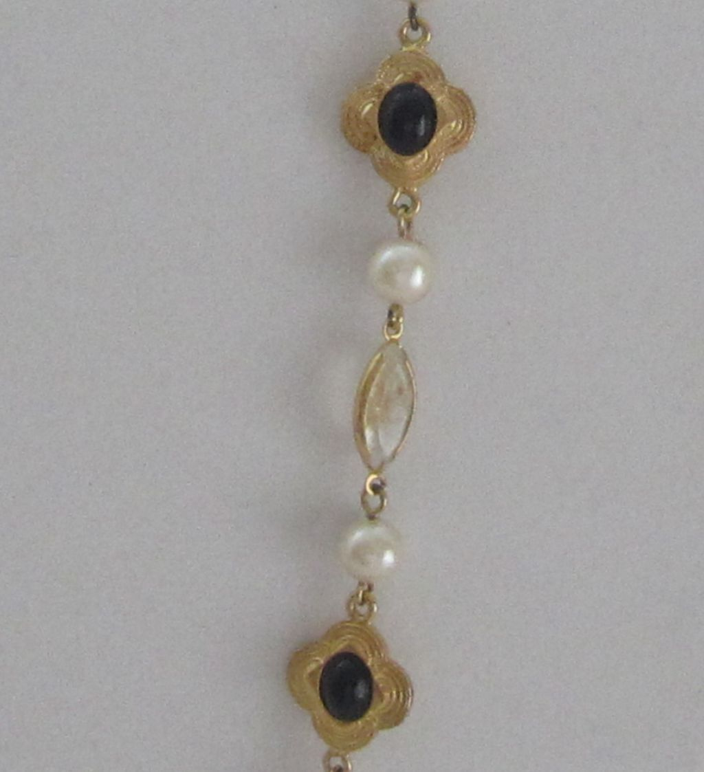 Vintage Toggle, Gold Tone Faux Pearl Long Necklace